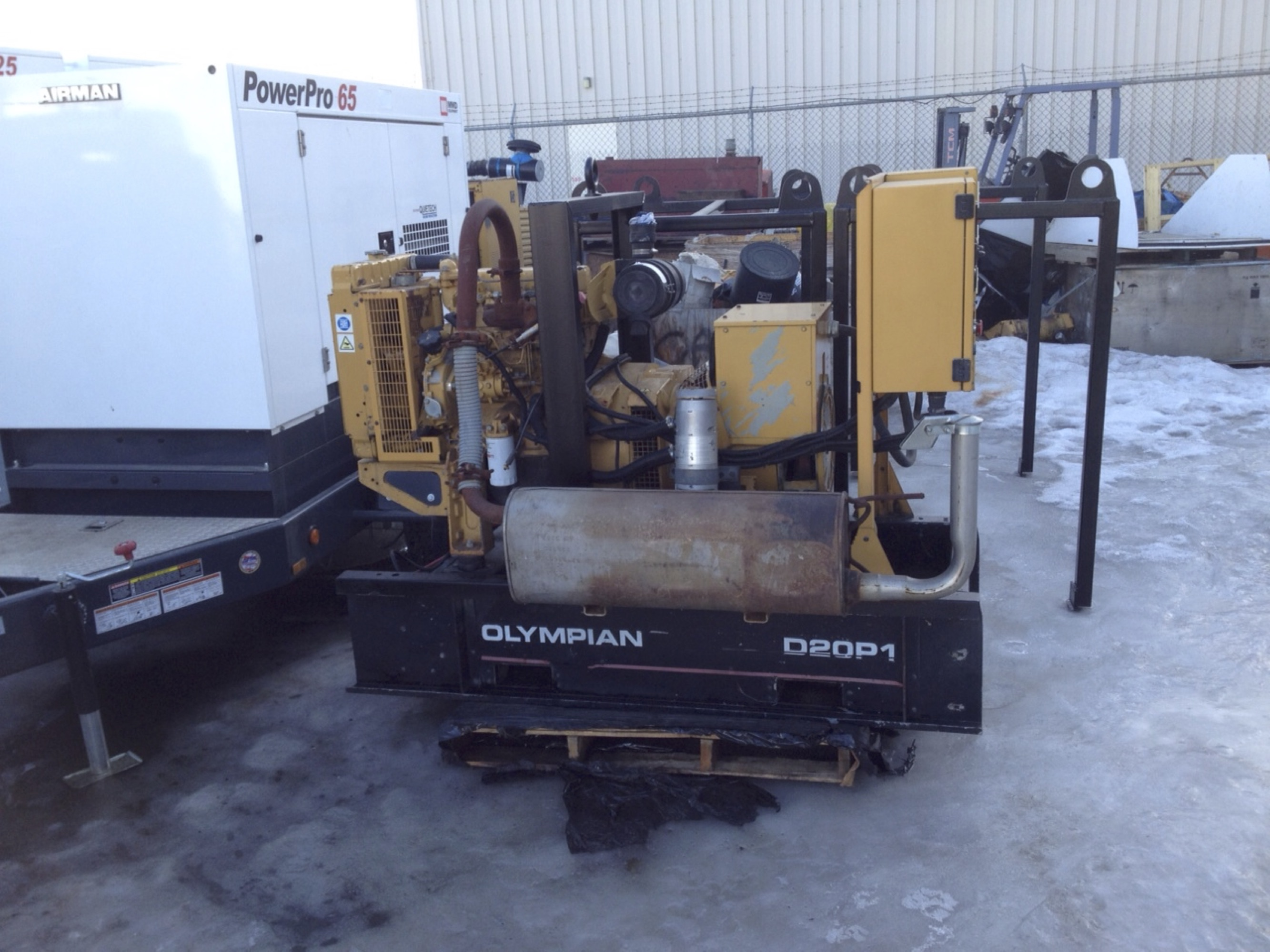 Olympian D20P1 20Kwe 3Ph / 15Kwe 1ph Skid Mounted Genset Package